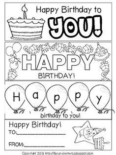 Printable Birthday Bookmarks to Color