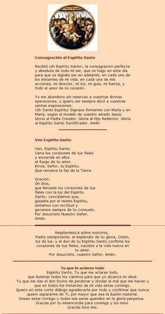 Oraciones al Espiritu Santo Catholic Prayers In Spanish, Personal Prayer, Catholic Religion, Prayer Board, My Lord, Sacred Heart, Jesus Loves, Holy Spirit, Jesus Christ