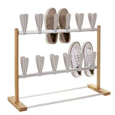 2 Tier Modern Pop On Shoe Rack maximises vertical storage freeing floor space. Fits 12 pairs of shoes that simply pop on the holders. Vertical Shoe Rack, Shoe Rack, Vertical Storage, Multipurpose Guest Room, Occasional Chairs, Shoe Storage Solutions, Storage, Murphy Bed Plan, Rack