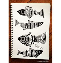 Lisa Congdon fish doodles from Paris sketchbook