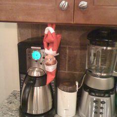 Elf on a shelf coffee thief