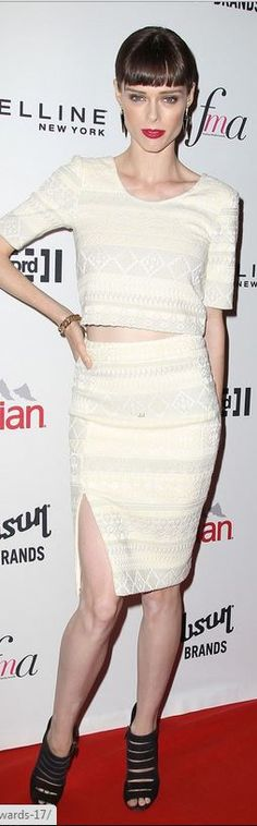Rebecca Minkoff fashion show - Coco Rocha in Rebecca Minkoff James Pattern-Stripe Tweed Crop Top and Skirt