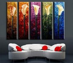 Abstract Art, Calla Lily Painting, Large Canvas Art, Flower Art, Canvas Painting, Abstract Painting, 5 Piece Wall Art, Huge Painting, Acrylic Art, Ready to Hang