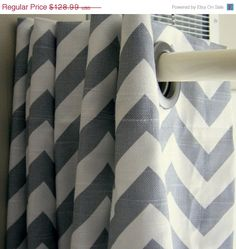 Shower Curtain Zig Zag Standard Size Premier Prints Ash Gray and White 72x96