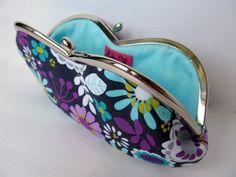 Eyeglass case Sunglass case Glasses case Aqua blue Purple Lilac ondark grey floral. €20,00, via Etsy.
