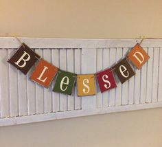 Fall Banner Blessed Sign thankful Bunting Garland by EncoreBanners