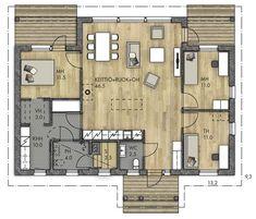 HARMAJA 111 - Kannustalo Future House, My House, Minimalist Home, House Floor Plans, My Dream Home, Bungalow, Sweet Home, New Homes, How To Plan