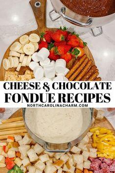 Easy Chocolate & Cheese Fondue Recipes - Carolina Charm Chocolate Cheese, Chocolate Recipes, Baking Recipes, Dessert Recipes, Desserts, Easy To Make Appetizers, Fondue Recipes, Rice Crispy Treats, Yummy Food