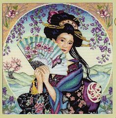 "Enchanting Geisha - 12"" x 12"", counted cross-stitch :: Love this design, it's so beautiful and... elegant! =)"