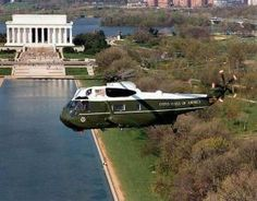 Marine One is shown here in flight. It is perhaps the most advanced military helicopter in the world, capable of safeguarding the U.S. President while in the air.