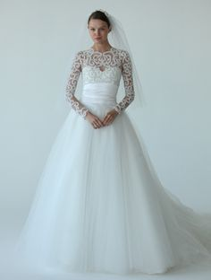 Love the sweetheart neck and the lace sleeves! 6 Wedding Dresses With Sleeves (Hot Trend Alert!) | TheKnot Blog.