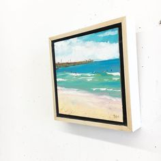 Floater frames are still my favorite frame style - especially for a little oil painting on panel.  This one has white sides for a beach vibe but natural wood is good too. What is your favorite frame style?  #floaterframe