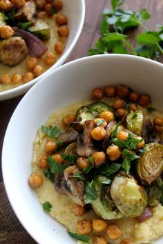 Creamy Polenta with Balsamic Roasted Vegetables & Garlic Chickpeas // pumpkin & peanut butter