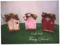 Welcome the wee folk with these fun and easy DIY fairy or elf doors fashioned from popsicle or craft sticks, simple craft supplies and odds and ends. Diy Fairy Door, Fairy Garden Doors, Fairy Doors, Fairy Gardens, Fairies Garden, Garden Whimsy, Craft Stick Crafts, Easy Crafts, Craft Sticks