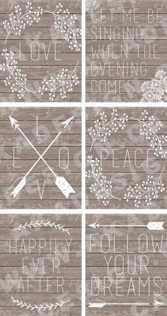 6 FREE Farmhouse Printable Art Pieces Want free art for your home? Here are six new free farmhouse printable art pieces from our collection. Word art with rustic wood-look back grounds, arrows, laurels and more. Wood Crafts, Diy And Crafts, Paper Crafts, Vintage Diy, Vintage Design, Printable Art, Free Printables, Printable Quotes, Printable Stencils