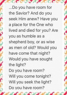 "December 13, 2015 of Jesus Birthday Celebration! Some of the lyrics of ""Do You Have Room?"""
