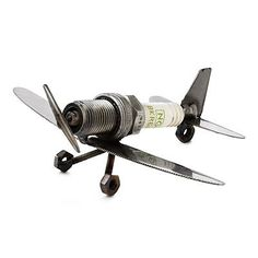 SPARK PLUG PLANE PAPERWEIGHT   recycled art, sculpture, airplane paperweight   UncommonGoods