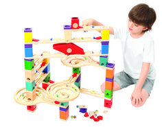Hape Quadrilla Wooden Marble Run Construction - Vertigo - Quality Time Playing Together Wooden Safe Play - Smart Play for Smart Families Vertigo, Wooden Marble Run, Quality Time, Kids Rugs, Outdoor Decor, Clover, Unique, Products, Playground Slide