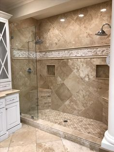 Top 6 Bathroom Shower Tile Ideas Your shower is more than just there for function. It's a massive ornamental element in your shower room as well as might have a big impact on your house's total ROI. If your shower is l… Master Bathroom Shower, Bathroom Renos, Small Bathroom, Bathroom Ideas, Basement Bathroom, Bathroom Furniture, Bathroom Shower Remodel, Seashell Bathroom, Colorful Bathroom
