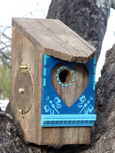 Birdhouse Handcrafted Rustic Cedar with Blue Painted Butterfly and Heart detail by 3FeatheredFriends on Etsy