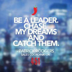 """We're sharing our #451Resolutions for 2015.   Resolution of the Day:   """"Be a leader. Chase my dreams and catch them.""""  - Patrick Rodgers, Sales Coordinator"""