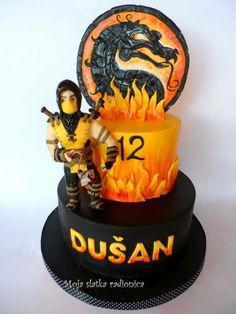 Mortal combat cake - Cake by Branka Vukcevic Cakes For Teenagers, Cakes For Boys, 6th Birthday Parties, 10th Birthday, Mortal Kombat, Birthday Sheet Cakes, Birthday Cake, Video Game Cakes, Two Layer Cakes