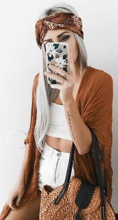 #summer #outfits Orange Kimono + White Crop + White Ripped Denim Short