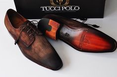 Mens Luxury Shoes : TucciPolo Genuine Blue Stingray with Half Suede Goodyear Welted Handmade Mens Luxury Shoe
