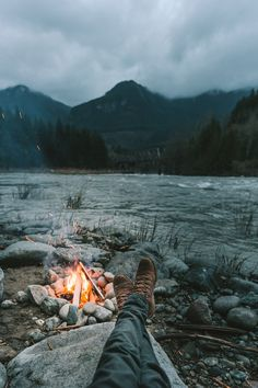 A fire by the river.