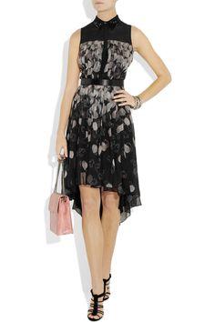 Jason Wu silk dress, black and white sheer over black with high/low hem