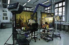 Restoration room of Art and History Museum, Geneva. I would give up a LOT to be able to work here!