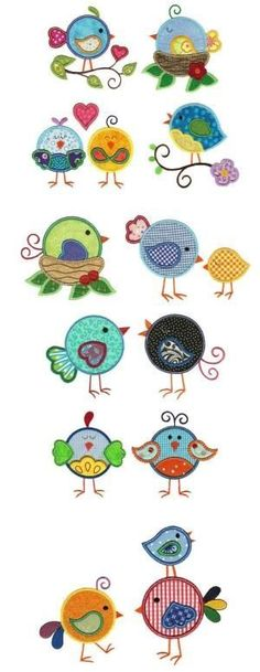 Ideas for bird embroidery designs applique patterns Sewing Appliques, Applique Patterns, Applique Designs, Embroidery Applique, Machine Embroidery Designs, Quilt Patterns, Embroidery Stitches, Motifs D'appliques, Sewing Projects