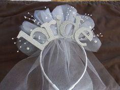 Madrina fiesta XL sparkle diadema con velo de novia por RiosBows