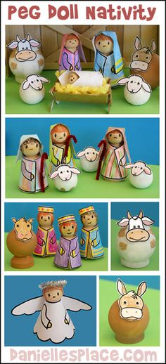 Nativity Set Craft made from Peg Dolls with printable patterns