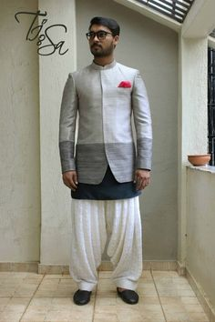 three piece silhouette kurta and dhoti pant joghpuri with kurta bandhgala with kurta light grey and dark grey outfit groom cocktail night outfit groom wear ideas for sangeet Mens Indian Wear, Mens Ethnic Wear, Indian Groom Wear, Indian Men Fashion, Dhoti Pants For Men, Pants For Women, Groom Outfit, Pants Outfit, Blazer Outfits