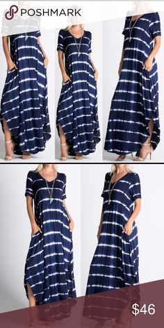 ☀️NEW☀️ Navy Tie Dye Maxi Rounded hemline. Hidden side slit pockets. 96% rayon, 4% spandex. Hand wash, line dry. Made in U.S.A.. Brand new boutique retail w/o tag. No trades, no off App transactions or negotiations. Touch Buy Now to select size.                            ⭐️ALSO IN BURGUNDY and OLIVE ⭐️      Sexy Cruise Vacation Spring Summer Short Sleeve Leoninus Dresses Maxi