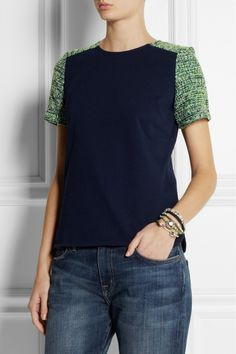 J.Crew|Cotton-jersey and tweed top|NET-A-PORTER.COM