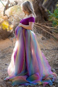 Our Short-Sleeve Off the Shoulder Rainbow Baby Gown is the perfect photoshoot maternity gown! Available in multiple colors! Made in USA. Maternity Shoot Dresses, Casual Maternity, Maternity Wear, Maternity Fashion, Maternity Wedding, Wedding Dress, Vestidos Para Baby Shower, Shower Dresses, Baby Gown