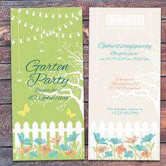 Einladung Geburtstag Karte Gartenparty Gartenfest von eigenbaudesign auf DaWanda.com