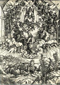 """St John kneeling before Christ and the twenty-four elders"" (1495) - Albrecht Dürer (1471-1528) Apocalypse"