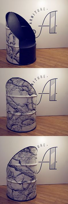 Our very first beloved barrel chair! Art all hand drawn with pencil by Sarah. Metal work  designs by Marc  Eric www.arniture.com