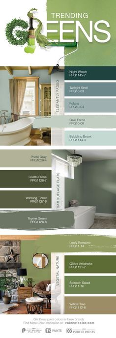 Trending Green Paint Colors for 2017 The natural world is once again becoming a dominant design influence. Green hues symbolize nature and the organic world. Greens create a sense of tranquility, health and peace, while providing comfort. Green Paint Colors, Interior Paint Colors, Wall Colors, House Colors, Interior Design, Green Room Colors, Green Wall Color, Stone Interior, Interior Lighting