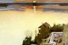 "huariqueje: "" Sunset at Lake Tuusula - Pekka Halonen 1902 Finnish "" Nordic Art, Canadian Art, Art Painting, Landscape Paintings, Painting, Illustration Art, Art, Romanticism Paintings, Landscape Art"