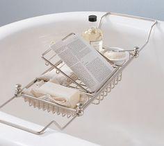Mercer Bathtub Caddy, Polished Nickel  |  Pottery Barn  $79  {Master Bath}