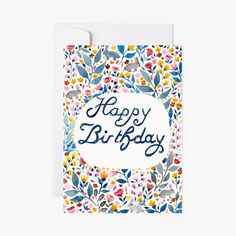 Card Happy Birthday postcard Stationery flowers by SoniaCavallini