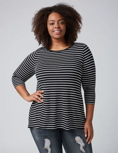 c521cc274a6 Striped Swing Tee. Plus Size Fashion Tops For Women