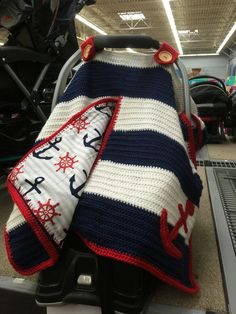 Baby car seat cover Nautical