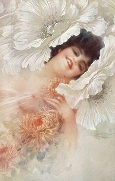 Old Postcard by Giuseppe Guerzoni Fashion Illustration Vintage, Magazine Illustration, Art Nouveau, Art Deco, Nostalgic Images, Victorian Women, Illustrations And Posters, Vintage Pictures, Vintage Postcards