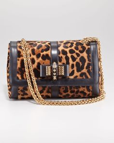 christian louboutin sweet charity bag | Christian Louboutin Sweet Charity LeopardPrint Shoulder Bag in Black ...