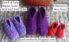 EyeLoveKnots: Quick and Easy Slipper Socks in 9 Women's Sizes - Free Crochet Pattern